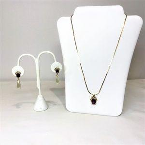 Purple & Clear Rhinestone Gold Tone Necklace Set